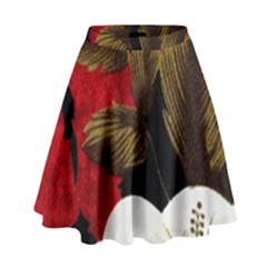 Paradis Tropical Fabric Background In Red And White Flora High Waist Skirt