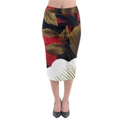 Paradis Tropical Fabric Background In Red And White Flora Midi Pencil Skirt