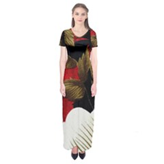 Paradis Tropical Fabric Background In Red And White Flora Short Sleeve Maxi Dress