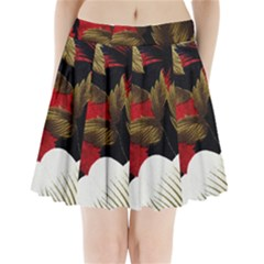 Paradis Tropical Fabric Background In Red And White Flora Pleated Mini Skirt