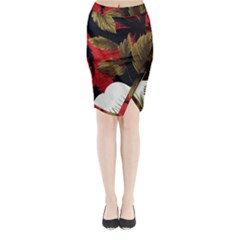 Paradis Tropical Fabric Background In Red And White Flora Midi Wrap Pencil Skirt