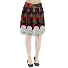 Paradis Tropical Fabric Background In Red And White Flora Pleated Skirt
