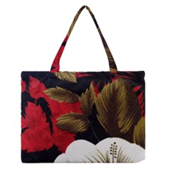 Paradis Tropical Fabric Background In Red And White Flora Medium Zipper Tote Bag