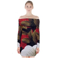 Paradis Tropical Fabric Background In Red And White Flora Long Sleeve Off Shoulder Dress