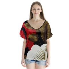 Paradis Tropical Fabric Background In Red And White Flora Flutter Sleeve Top