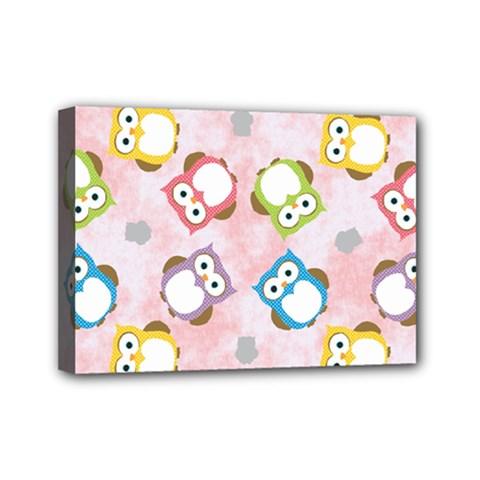 Owl Bird Cute Pattern Mini Canvas 7  X 5