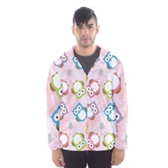 Owl Bird Cute Pattern Hooded Wind Breaker (men)