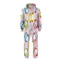 Owl Bird Cute Pattern Hooded Jumpsuit (Kids)