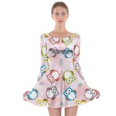 Owl Bird Cute Pattern Long Sleeve Skater Dress