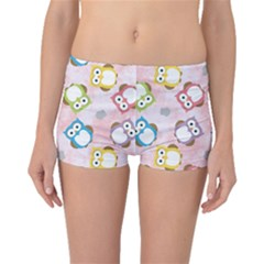 Owl Bird Cute Pattern Boyleg Bikini Bottoms
