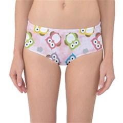 Owl Bird Cute Pattern Mid-Waist Bikini Bottoms