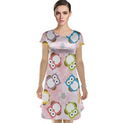 Owl Bird Cute Pattern Cap Sleeve Nightdress
