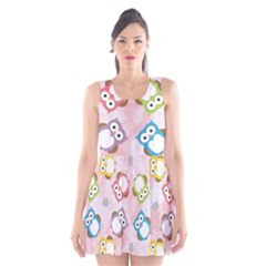 Owl Bird Cute Pattern Scoop Neck Skater Dress