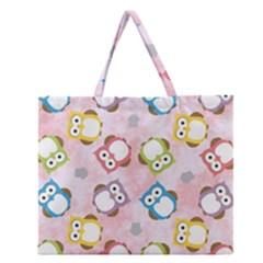 Owl Bird Cute Pattern Zipper Large Tote Bag