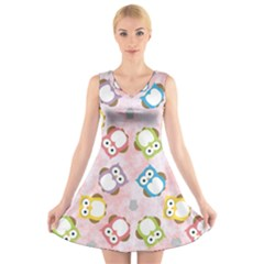 Owl Bird Cute Pattern V Neck Sleeveless Skater Dress