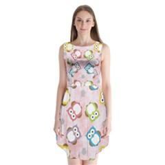 Owl Bird Cute Pattern Sleeveless Chiffon Dress