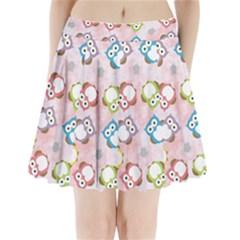 Owl Bird Cute Pattern Pleated Mini Skirt