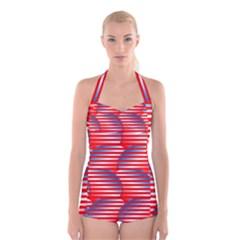 Patriotic  Boyleg Halter Swimsuit
