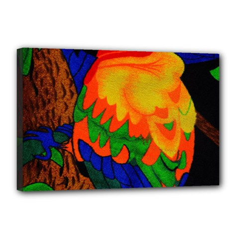 Parakeet Colorful Bird Animal Canvas 18  x 12