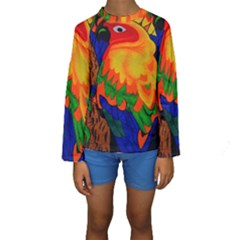 Parakeet Colorful Bird Animal Kids  Long Sleeve Swimwear