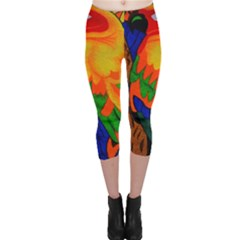 Parakeet Colorful Bird Animal Capri Leggings