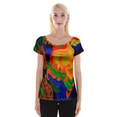 Parakeet Colorful Bird Animal Women s Cap Sleeve Top