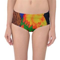 Parakeet Colorful Bird Animal Mid Waist Bikini Bottoms
