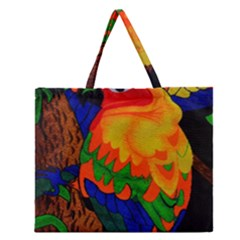 Parakeet Colorful Bird Animal Zipper Large Tote Bag