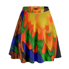 Parakeet Colorful Bird Animal High Waist Skirt