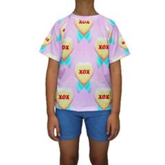 Pastel Heart Kids  Short Sleeve Swimwear