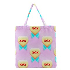 Pastel Heart Grocery Tote Bag