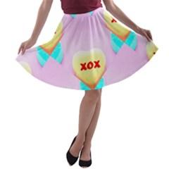 Pastel Heart A Line Skater Skirt