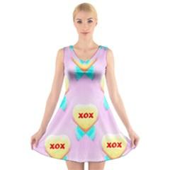 Pastel Heart V Neck Sleeveless Skater Dress