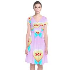 Pastel Heart Short Sleeve Front Wrap Dress