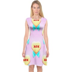 Pastel Heart Capsleeve Midi Dress