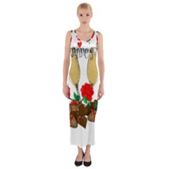 Valentine s day romantic design Fitted Maxi Dress