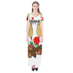 Valentine s day romantic design Short Sleeve Maxi Dress