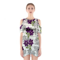Purple vintage flowers Shoulder Cutout One Piece