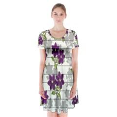 Purple vintage flowers Short Sleeve V-neck Flare Dress