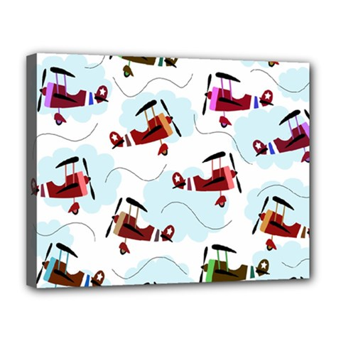 Airplanes pattern Canvas 14  x 11