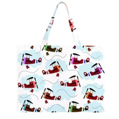 Airplanes pattern Large Tote Bag