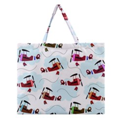 Airplanes pattern Zipper Large Tote Bag