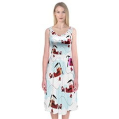 Airplanes pattern Midi Sleeveless Dress