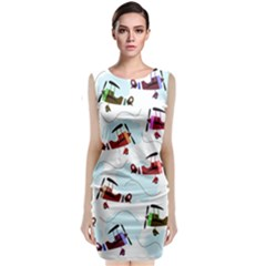 Airplanes Pattern Classic Sleeveless Midi Dress