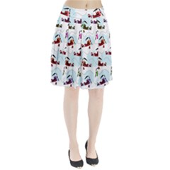 Airplanes Pattern Pleated Skirt