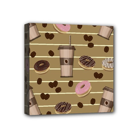 Coffee and donuts  Mini Canvas 4  x 4