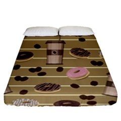 Coffee And Donuts  Fitted Sheet (queen Size)