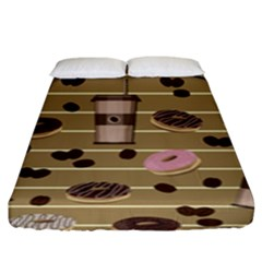 Coffee And Donuts  Fitted Sheet (king Size)