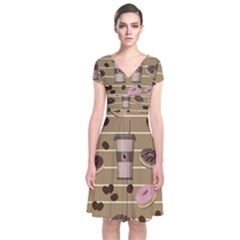 Coffee and donuts  Short Sleeve Front Wrap Dress