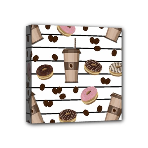 Donuts and coffee pattern Mini Canvas 4  x 4